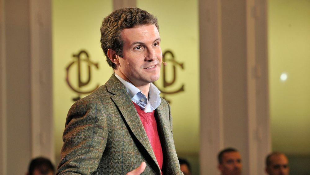 El presidente del PP, Pablo Casado, durante el acto de presentación de los candidatos de Castilla-La Mancha celebrado en Albacete.