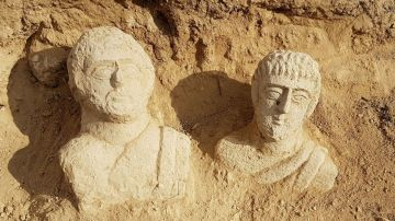 Imagen de los bustos funerarios romanos encontrados en la ciudad norteña israelí de Beit Shean