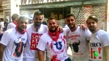 Los integrantes de La Manada en Pamplona