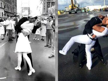 Beso gay imitando una icónica foto