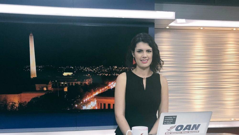 La presentadora Bre Payton en el plató de One American News