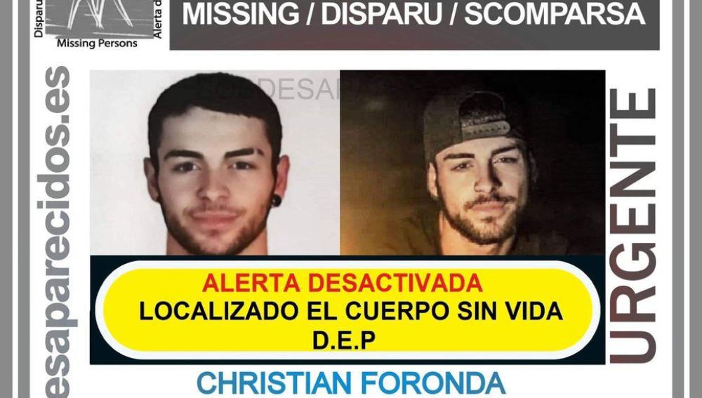 Christian Foronda, de 18 años, desaparecido en Cortijos Nuevos, Jaén