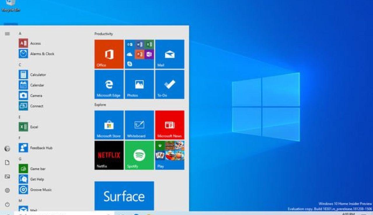 Así es el nuevo diseño del menú de inicio de Windows 10