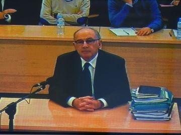 Imagen del monitor de la sala de prensa de la Audiencia Nacional de el expresidente de Bankia durante el juicio
