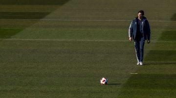 Solari, durante el último entrenamiento del Real Madrid