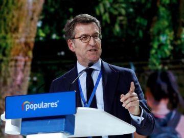 El presidente de la Xunta de Galicia, Alberto Núñez Feijóo, en la Convención Nacional del PP