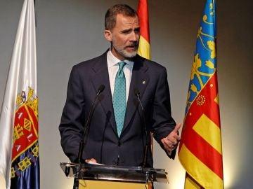 El rey Felipe VI durante su intervención en el acto de conmemoración del 40+1 aniversario de la CEV