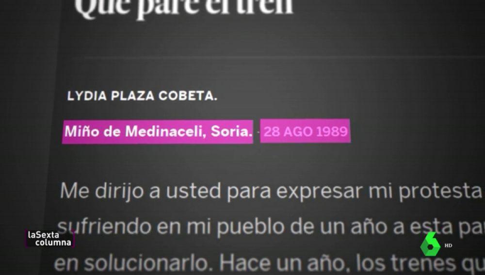 Cómo una vecina de Miño de Medinaceli, en Soria, predijo hace 30 años los problemas de los recortes en el sistema ferroviario