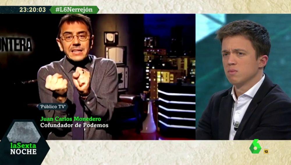 """Errejón responde a las críticas de Echenique y Monedero: """"Respeto el estilo de cada uno, pero ese no es el mío"""""""