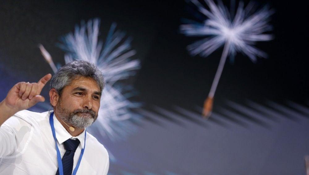 Imagen del padre de Mari Luz, Juan José Cortés, en la Convención del PP