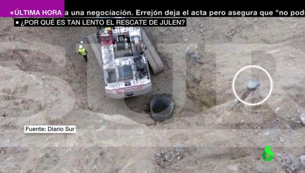 El pozo por el que cayó Julen y el túnel paralelo que se está realizando