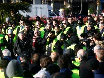 Taxistas se manifiestan en Barcelona.