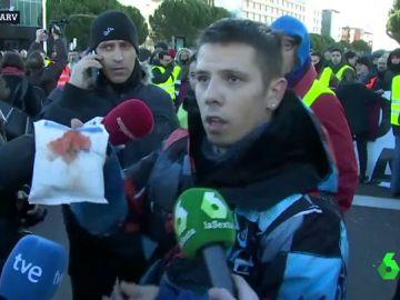 Un taxista, herido en las protestas frente a IFEMA