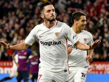 Sarabia festeja su gol ante el Barcelona