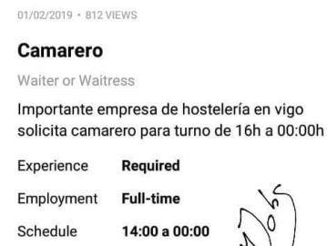 Polémica oferta de trabajo: una pizzería de Vigo ofrece dos puestos de cocinero y camarero a cambio de propinas