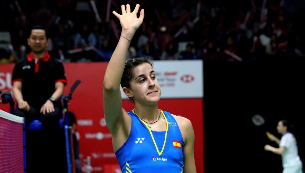 Carolina Marín celebrando una victoria
