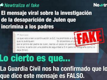 Imagen del bulo que circula por WhatsApp sobre la desaparición de Julen.