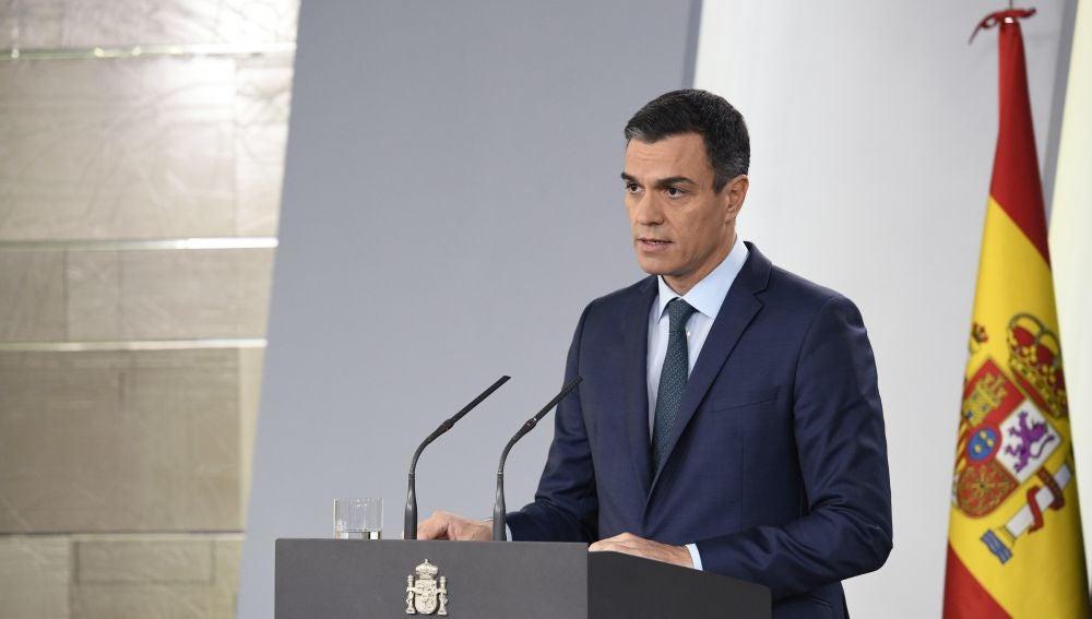 El presidente del Gobierno, Pedro Sánchez, durante la rueda de prensa ofrecida en el Palacio de la Moncloa