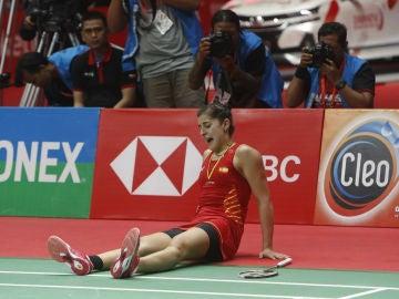 Carolina Marín, en el suelo