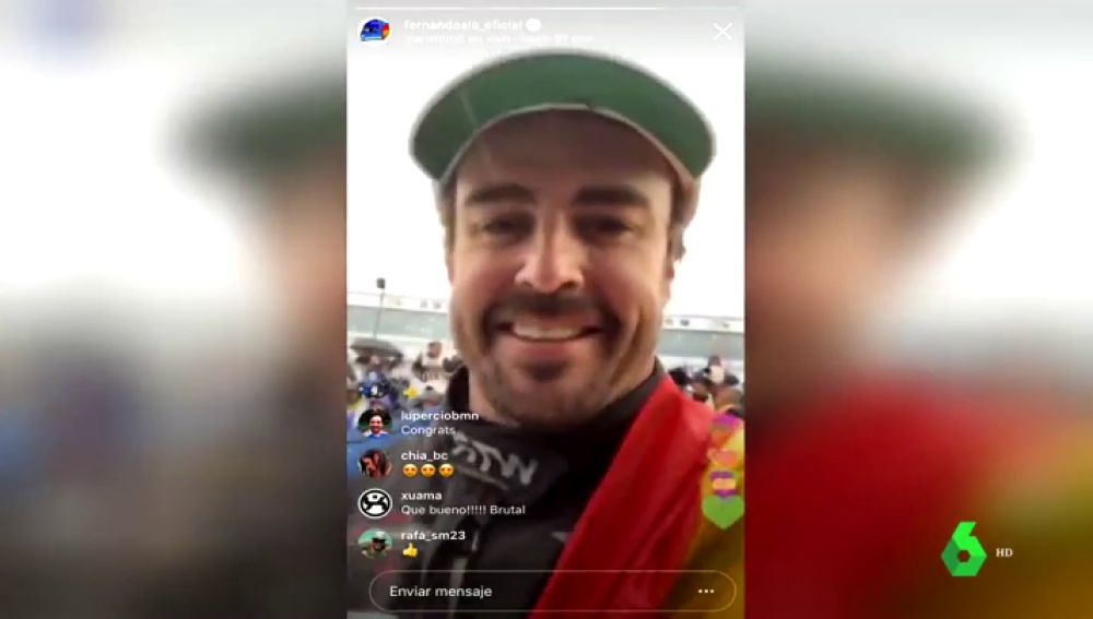Fernando Alonso, eufórico tras ganar las 24 Horas de Daytona