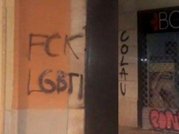 Pintadas contra el colectivo LGTBI y Ada Colau en Barcelona