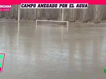 El campo del Club Deportivo Injerto, inundado: ¡dos metros de agua y casi no se veían las porterías!