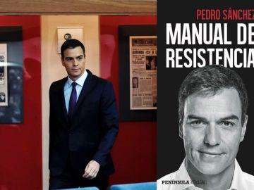 Portada del libro 'Manual de resistencia' junto a una imagen de archivo del presidente del Gobierno, Pedro Sánchez