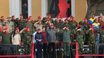 Nicolás Maduro durante un acto de Gobierno con militares en Maracay, Venezuela