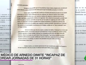 """La dura y emotiva carta de un médico de Arnedo que dimite """"incapaz de abordar jornadas de 31 horas"""" de trabajo"""