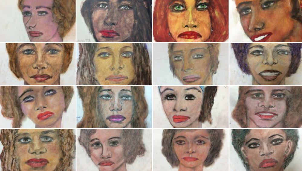 Retratos realizados por el asesino en serie Samuel Little