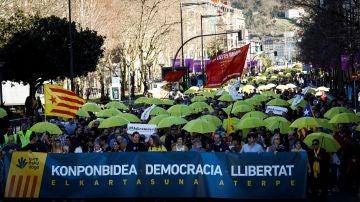 Vista de la manifestación convocada por la plataforma soberanista Gure Esku Dago