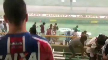Inundación en un estadio de Brasil