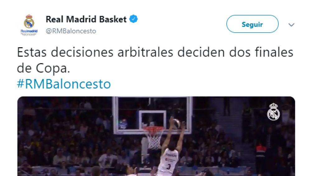 El tuit de denuncia del Real Madrid tras la final de Copa