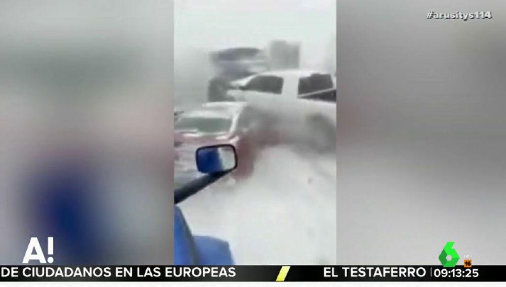 Impactante vídeo: así se produce un choque en cadena a causa de la nieve