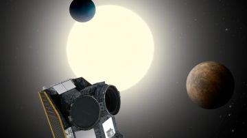 Representación artística del telescopio CHEOPS