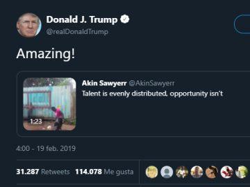 Trump comparte el vídeo de una mujer africana con grandes dotes con el balón de fútbol