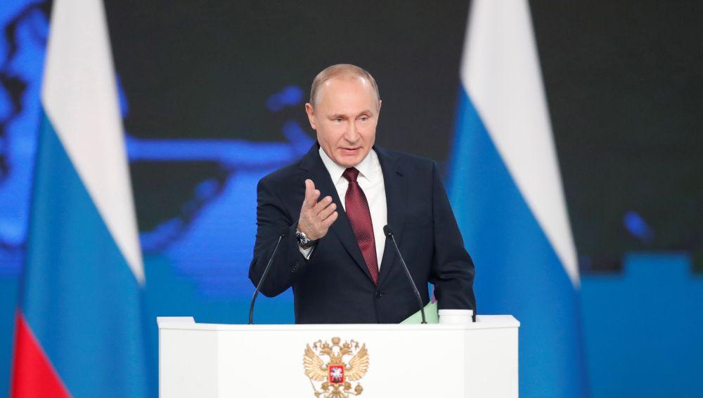 El presidente ruso, Vladimir Putin, presenta su informe anual sobre el estado de la nación ante el Parlamento en Moscú (Rusia).