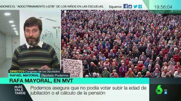 """Rafael Mayoral, crítico con los partidos de la oposición: """"Temen a los pensionistas, que fueron los que echaron a Rajoy junto con las mujeres del 8M"""""""