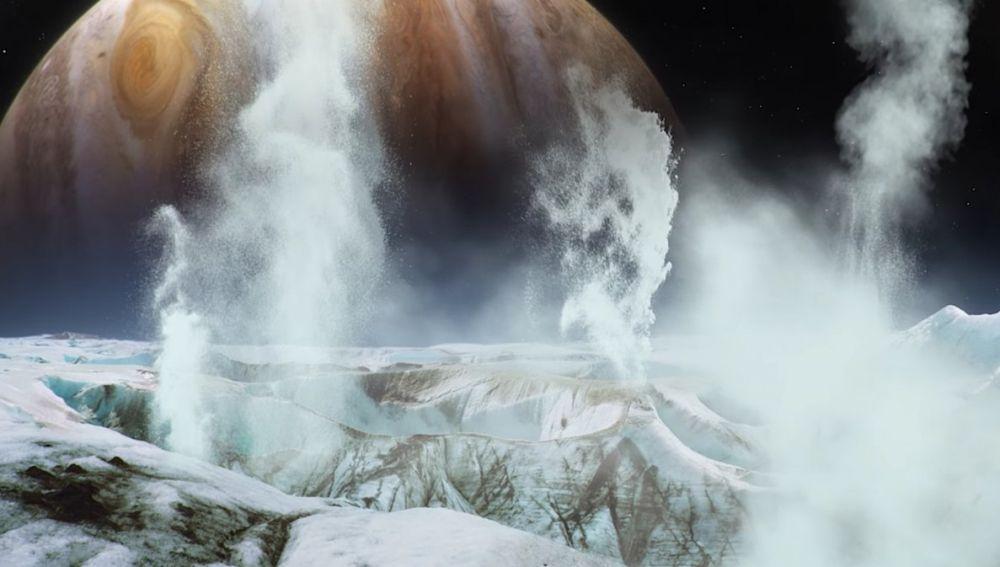 Representación científica de los chorros de gas que emergen de la superficie de Europa en Júpiter procedentes del océano subterráneo del satélite