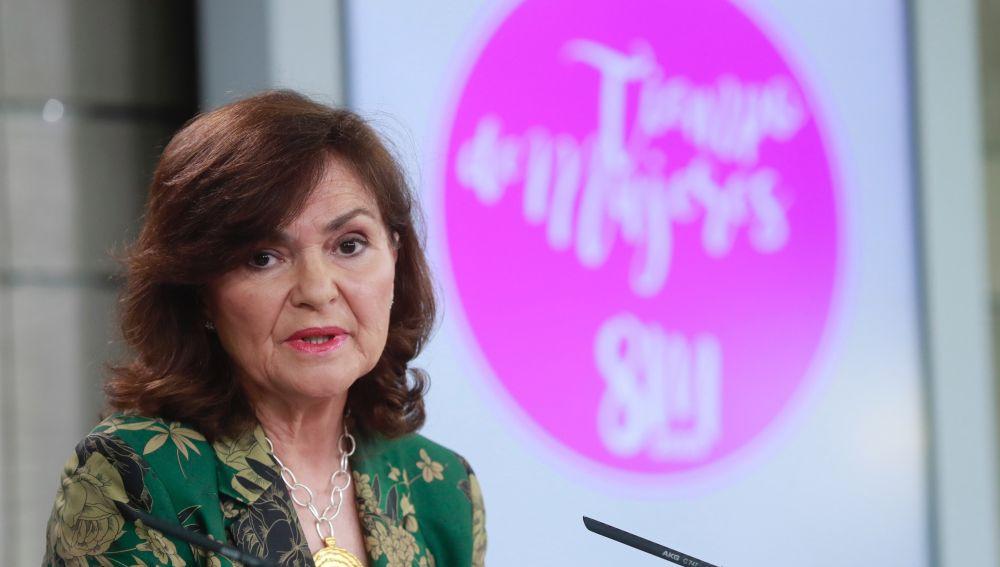 La vicepresidenta del Gobierno, Carmen Calvo, durante la rueda de prensa tras la reunión del último Consejo de Ministros