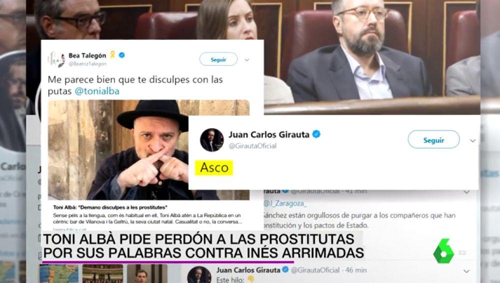 Toni Albà pide perdón a las prostitutas por sus palabras contra Inés Arrimadas