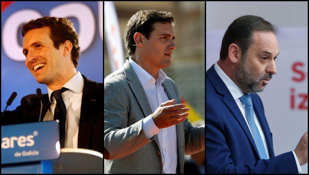 Pablo Casado, Albert Rivera y José Luis Ábalos