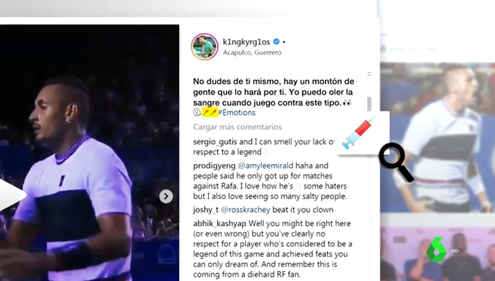 Kyrgios vuelve a liarla: nuevo mensaje a Rafa Nadal con una jeringuilla