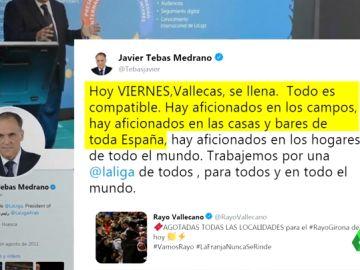 Un tuit del Rayo Vallecano provoca el enésimo capítulo de la guerra Rubiales vs Tebas