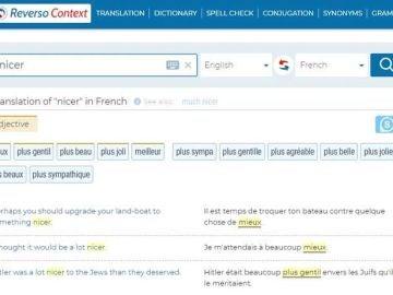 Captura de la web de traducción Reverso al buscar la palabra 'nicer'