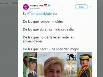 """La Guardia Civil apoya la huelga feminista en sus redes sociales: """"Es tiempo de mujeres"""""""