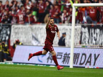 David Villa celebra un gol con el Vissel Kobe