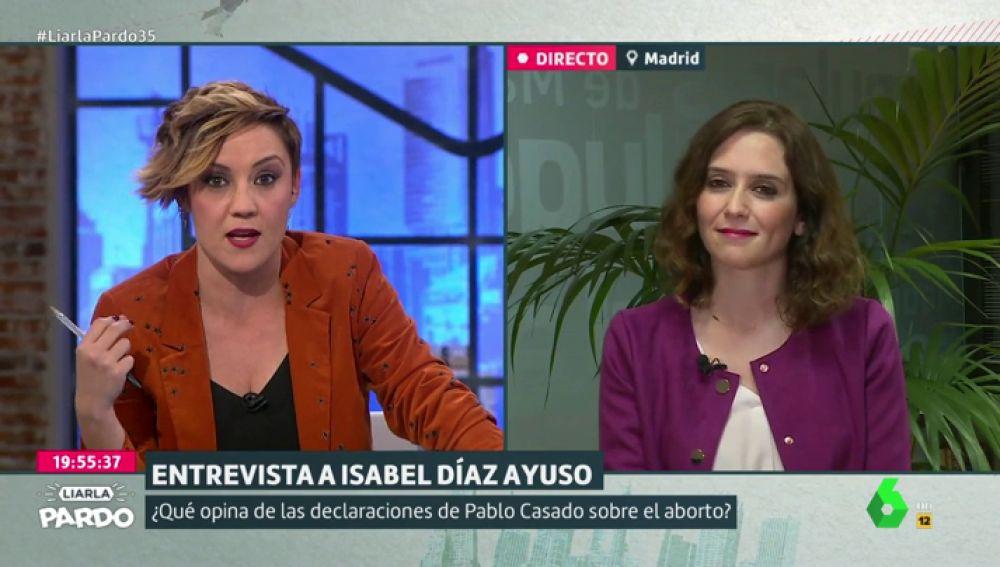 """Cristina Pardo desmonta en pleno directo los argumentos de Isabel Díaz Ayuso sobre Cifuentes y """"Pedro Sánchez el guapo"""" en una tensa entrevista"""