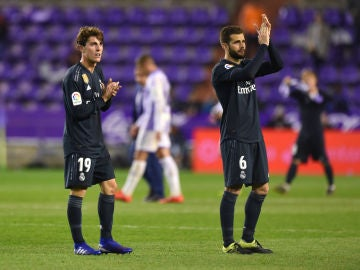 Nacho y Odriozola, tras el partido en Pucela