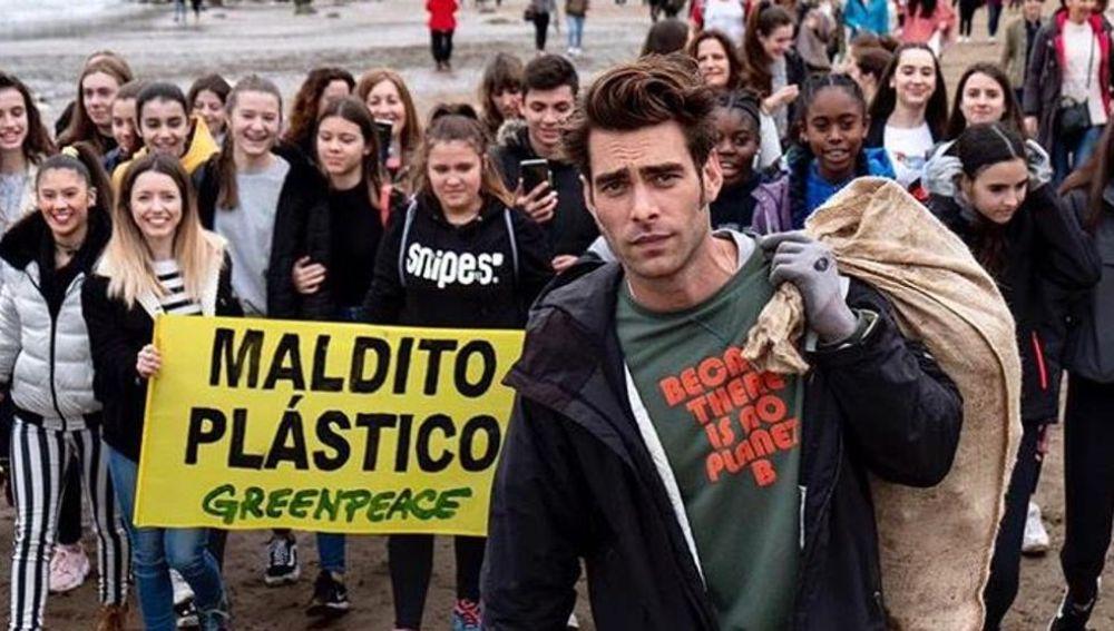 Jon Kortajarena en un evento de Greenpeace